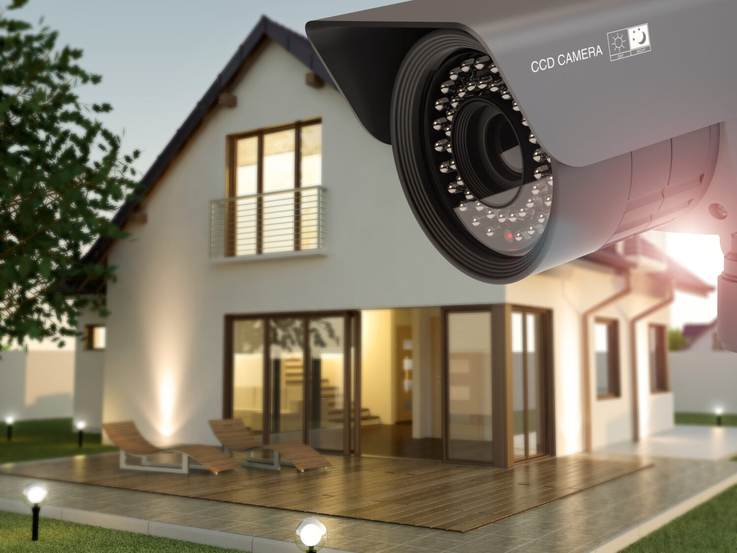 Security camera and home in the evening